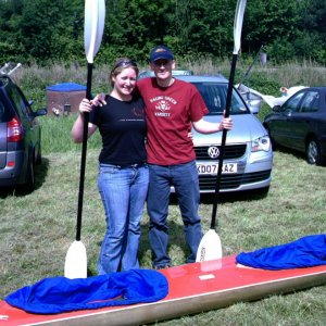 Me and Kevin in our marathon kayak. Hasler races, Southampton 08